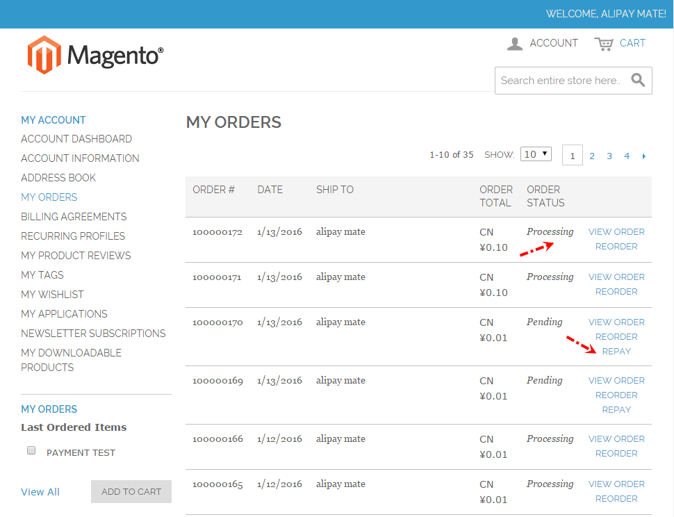 Magento 1.9 Alipay Cross-border Mobile Payment - My Orders