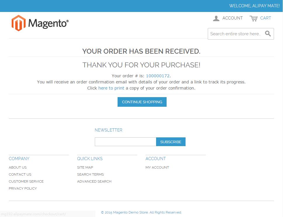 Magento 1.9 Alipay Cross-border Mobile Payment - Magento Checkout Success