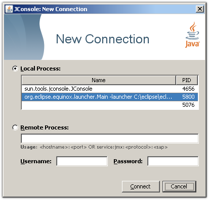 JConsole dialog to open a connection to a Virtual Machine.