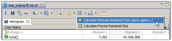Select calculate retained sizes from the tool bar