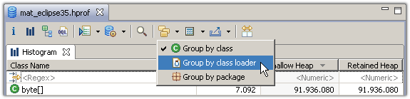 Group the histogram by class loader or package via the tool bar
