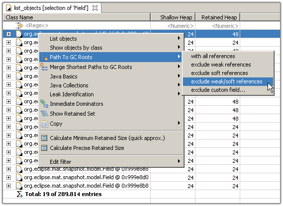 Select path to GC roots from the context menu
