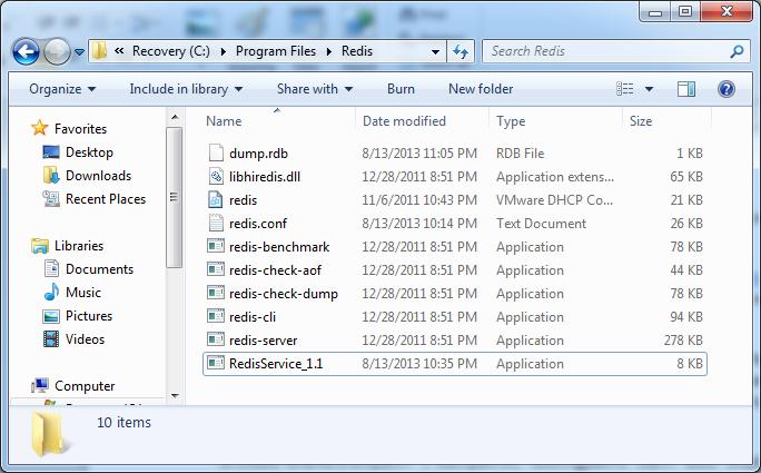 redis application folder conten