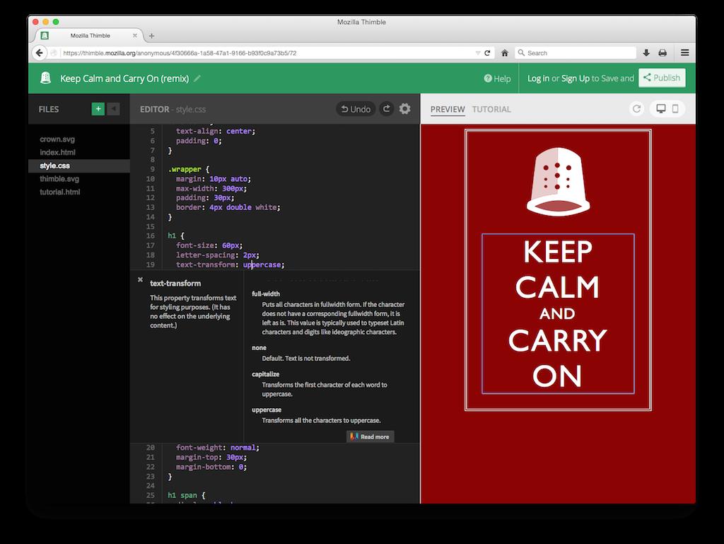 HTML网页开发工具 Mozilla Thimble