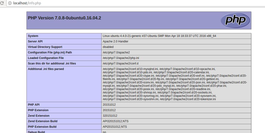 PHP环境安装成功提示