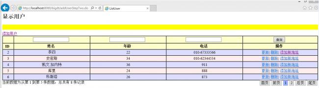 Spring mvc整合mybatis基于mysql数据库实现用户增删改查及其分页显示的完整入门实例