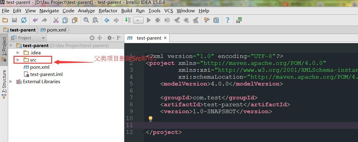 5、删除父项目的src文件夹