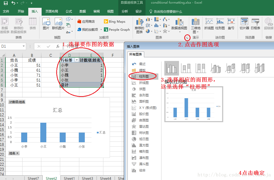Excel计数(count)可视化