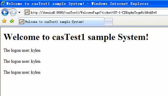 登录后访问 casTest1 的效果
