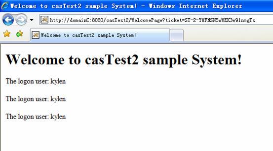 在 casTest1 中登录过后访问 casTest2 的效果
