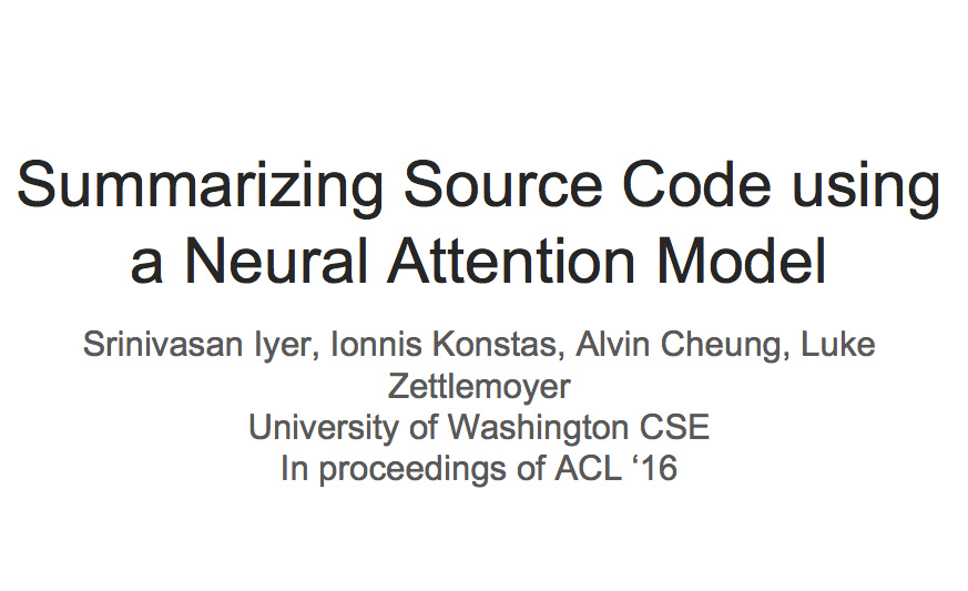 CS224n研究热点12 神经网络自动代码摘要
