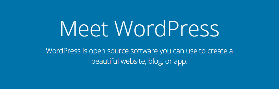 The WordPress homepage.