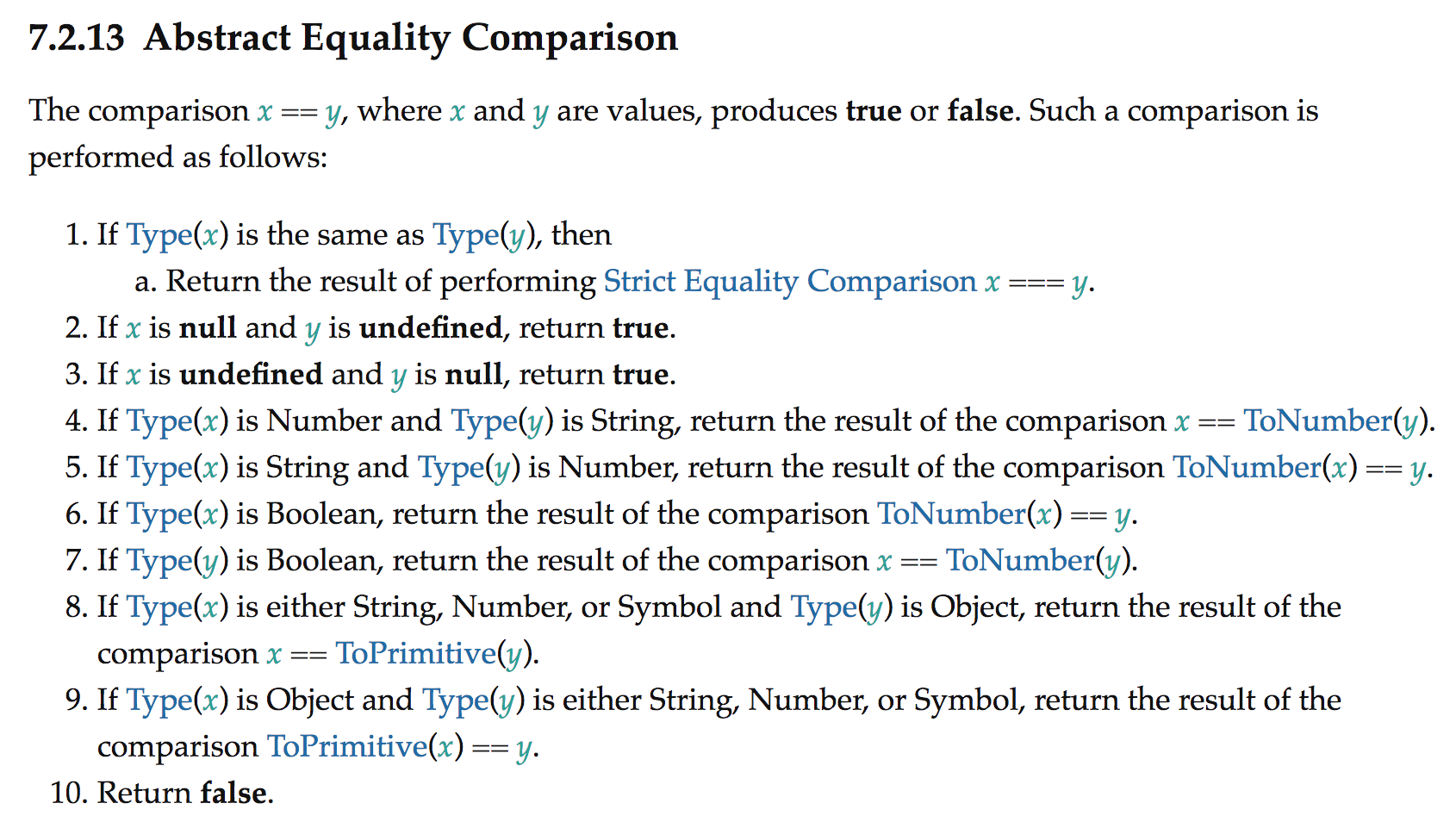 Abstract Equality Comparison