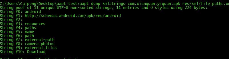 aapt dump xmlstrings