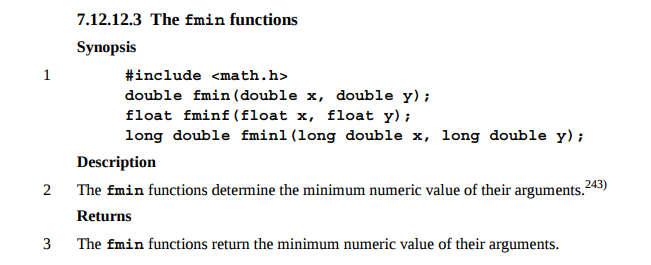 min function definition in a C standard document
