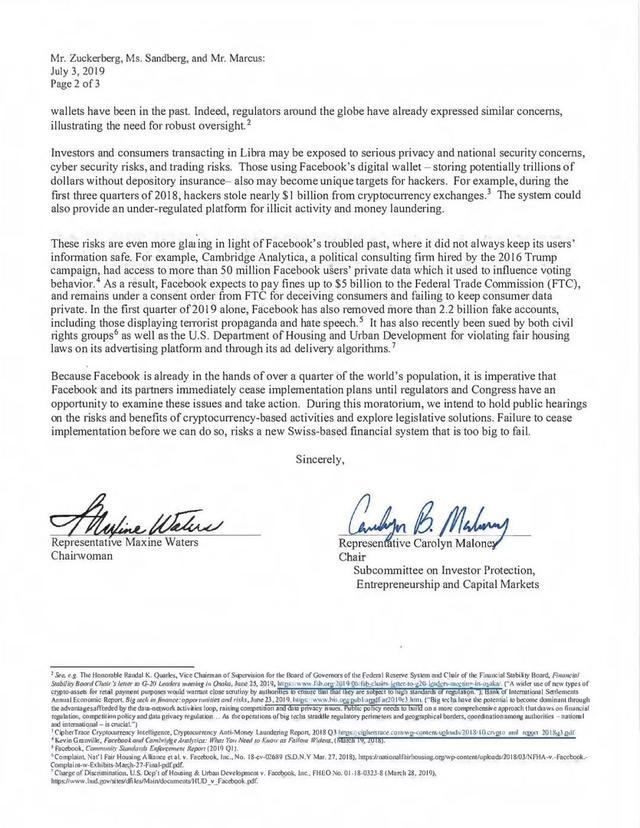 突发!美国国会发函要求Facebook立即停止Libra项目(附信函)