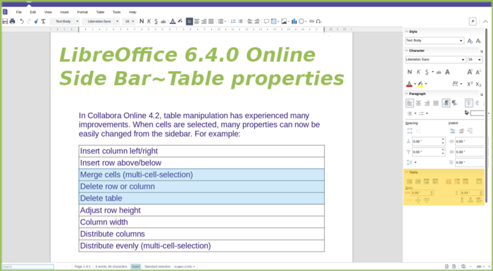 Side bar with Table properties in Writer online
