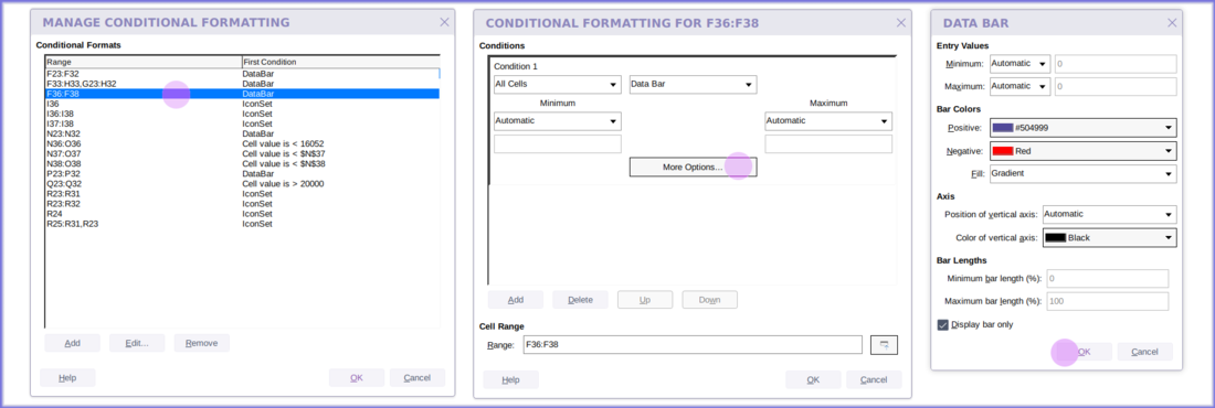 Full conditional formatting in Calc online