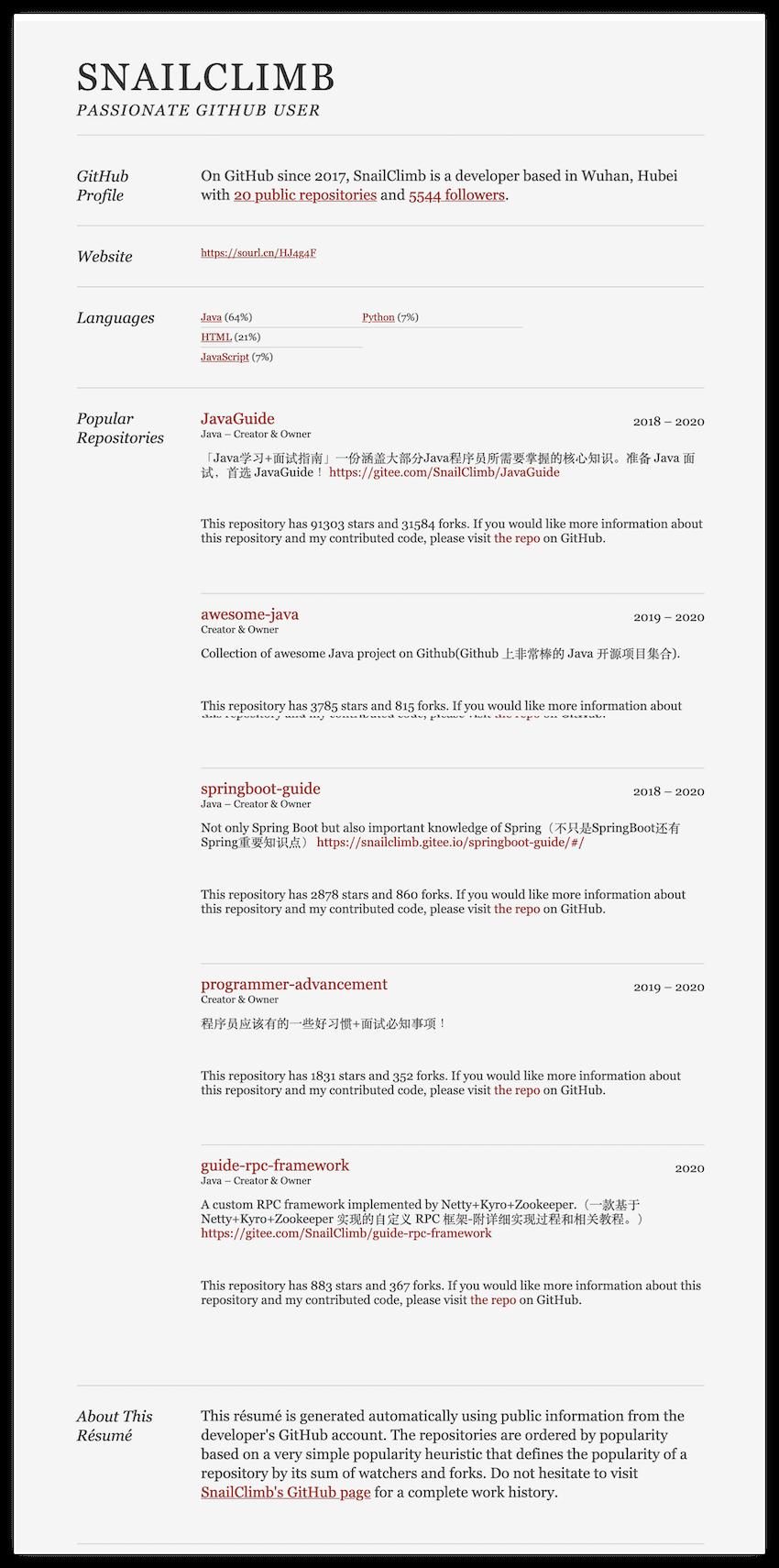 Github resume