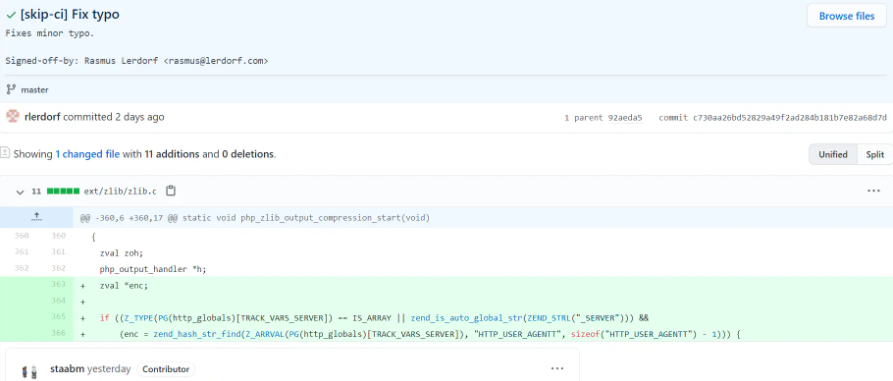 黑客入侵 PHP 的 Git 服务器,试图提交后门代码