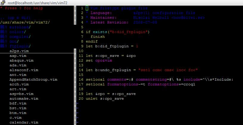 vim插件:显示树形目录插件NERDTree安装和使用- vasks_ffei的