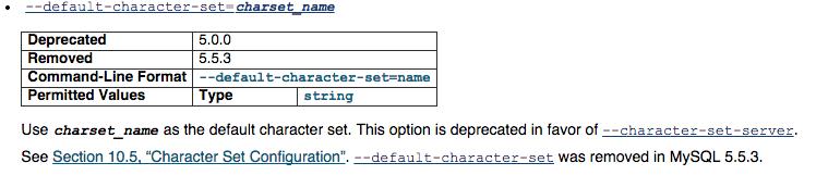 default-character-set属性mysql5.0过时,5.5.3移除