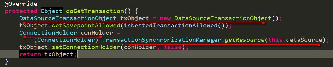 DataSourceTransactionManager获取一个事务