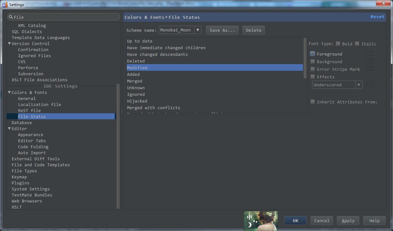 调整PHPStorm中文件修改后标签和文件名的颜色与背景色
