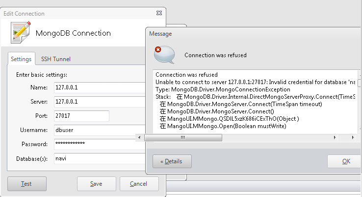 Mongodb Connection Refused