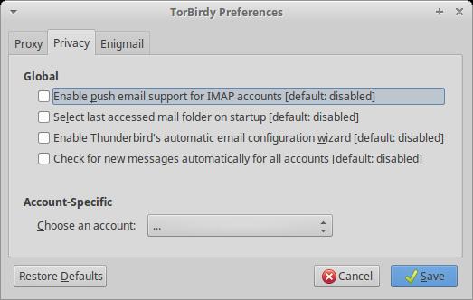 Thunderbird 安全 Tor 插件                                              TorBirdy