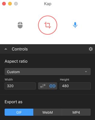 Web 构建的屏幕录像机                                              Kap for macOS