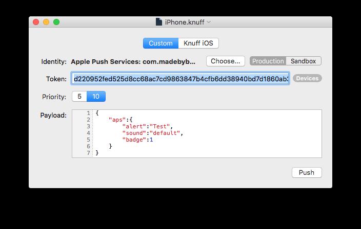 苹果推送消息服务调试应用 Knuff