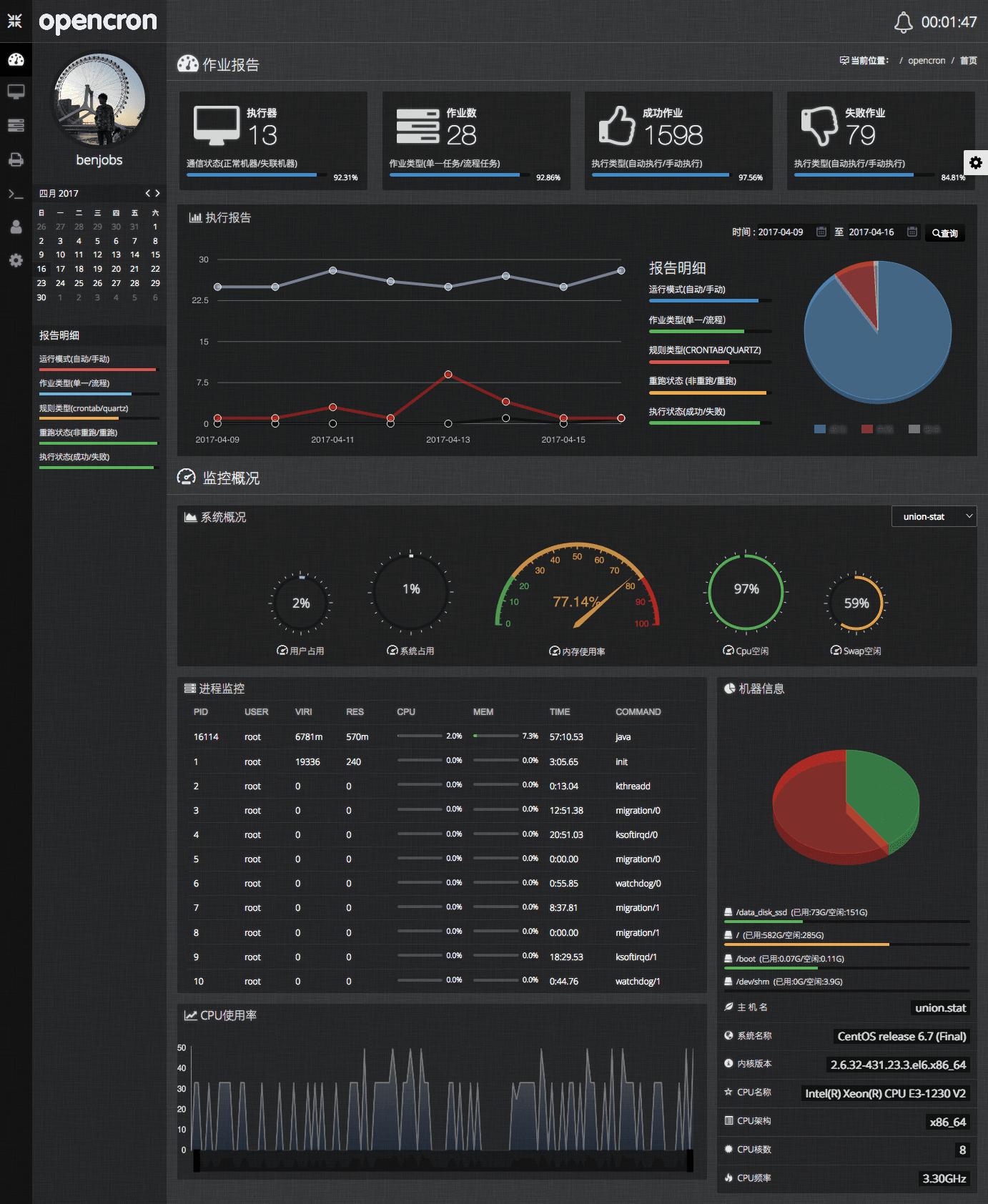 定时任务调度系统 opencron