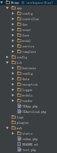 轻量易用的 PHP 框架 Biny