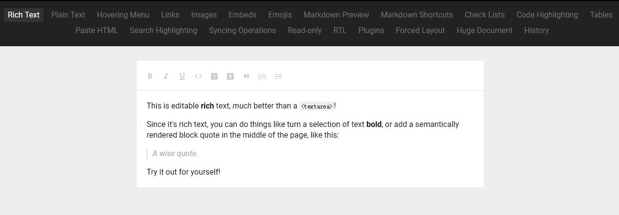 完全可定制的富文本编辑框架 Slate.js