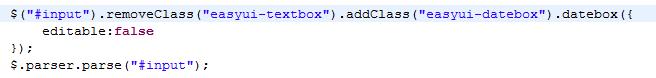 easyui 将已经是 textbox 的输入框改成时间框...
