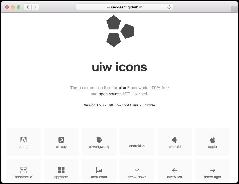 开源图标字体 uiw-iconfont v1.2.7 发布,优化样式