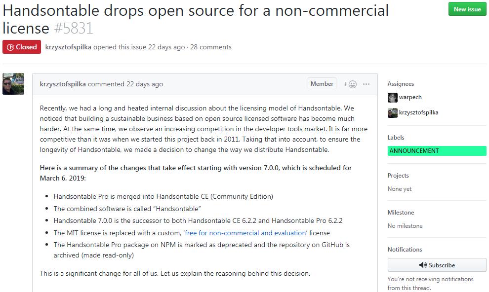 数据网格组件Handsontable 不再开源,采用自拟的非商业许可证