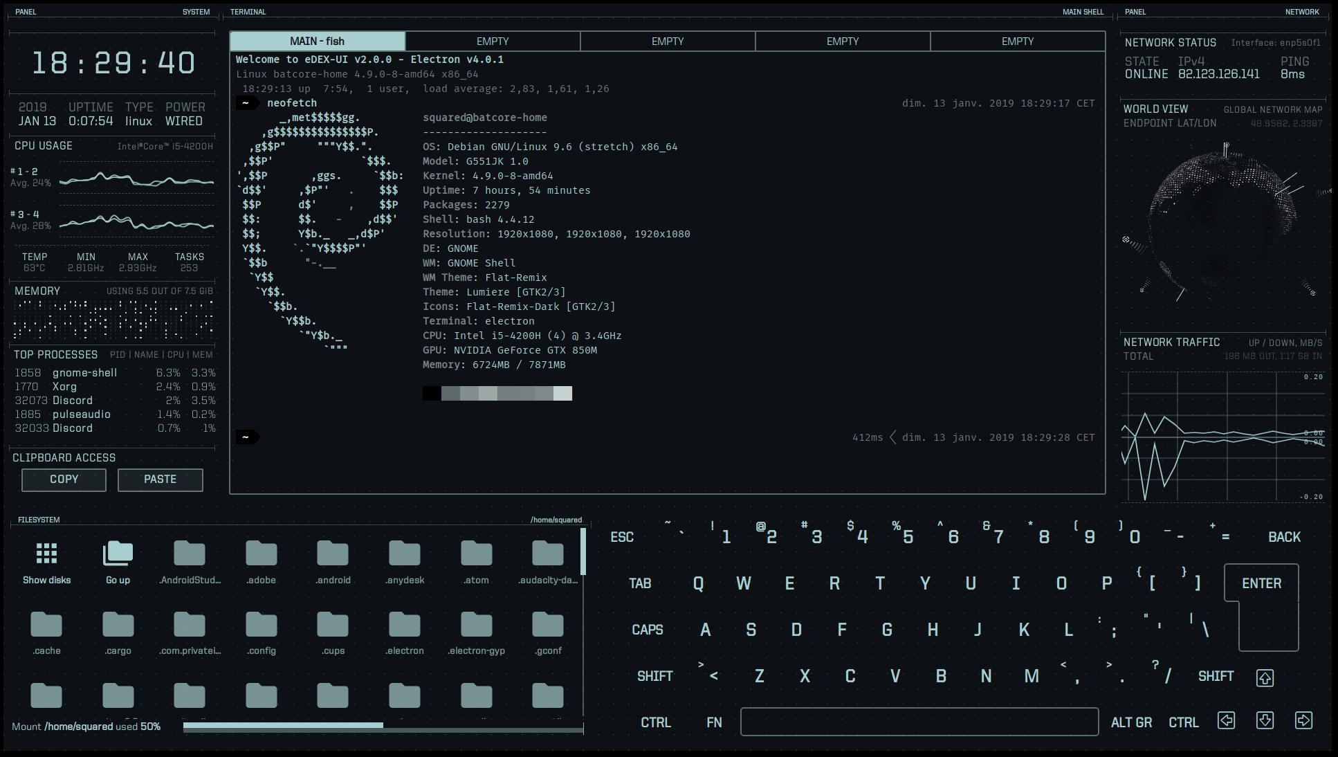 科幻终端模拟器 eDEX-UI