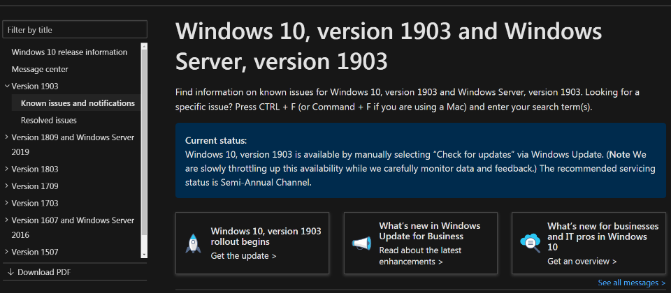 Windows 10 1903: install the update causes downtime, Wi-Fi and