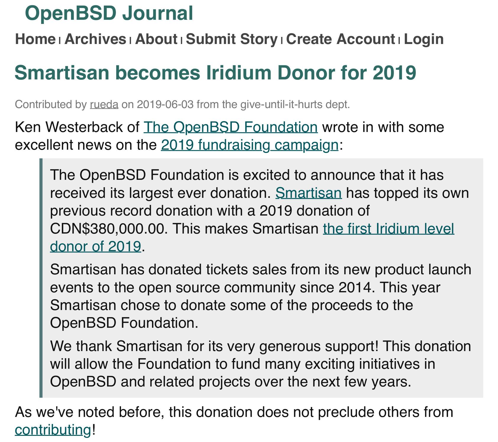 OpenBSD 基金会已收到锤子科技约 195 万的捐款A