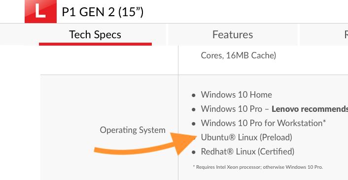 联想 ThinkPad P 系列笔记本预装 Ubuntu 系统A