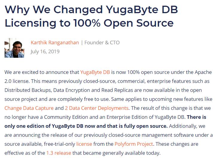 YugaByte DB 将企业版100%开源还不收费