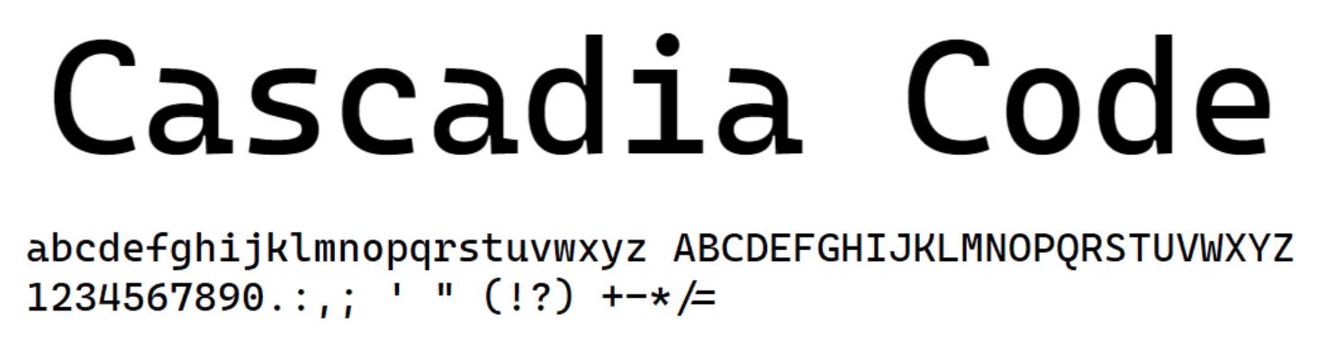 配套 Windows Terminal 的等宽字体 Cascadia Code