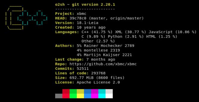 在终端上展示 Git 项目摘要 onefetch
