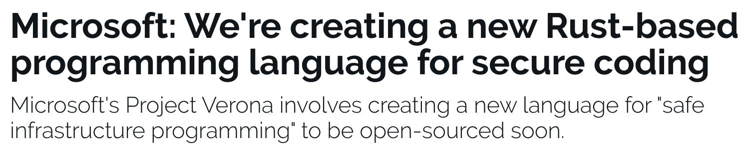 微软正在开发基于 Rust 的安全编程语言