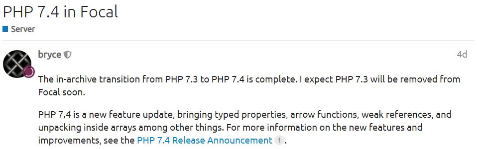 Ubuntu 20.04 LTS 已引入 PHP 7.4