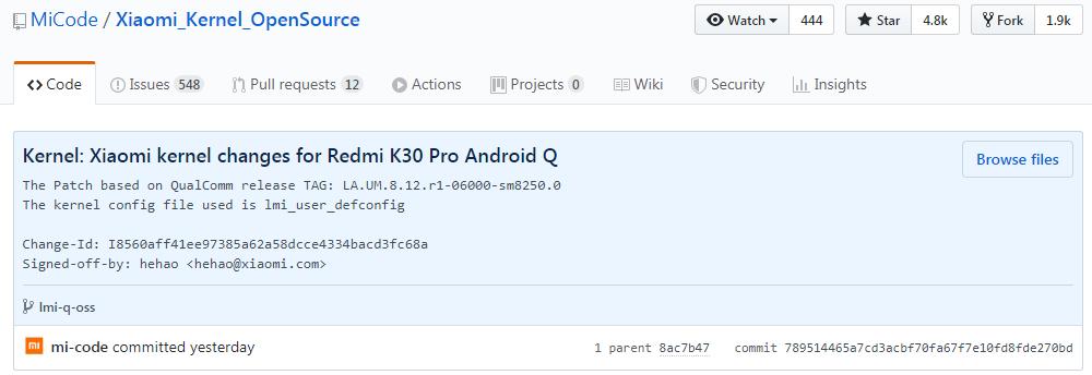 小米开源 Redmi K30 Pro 内核源码