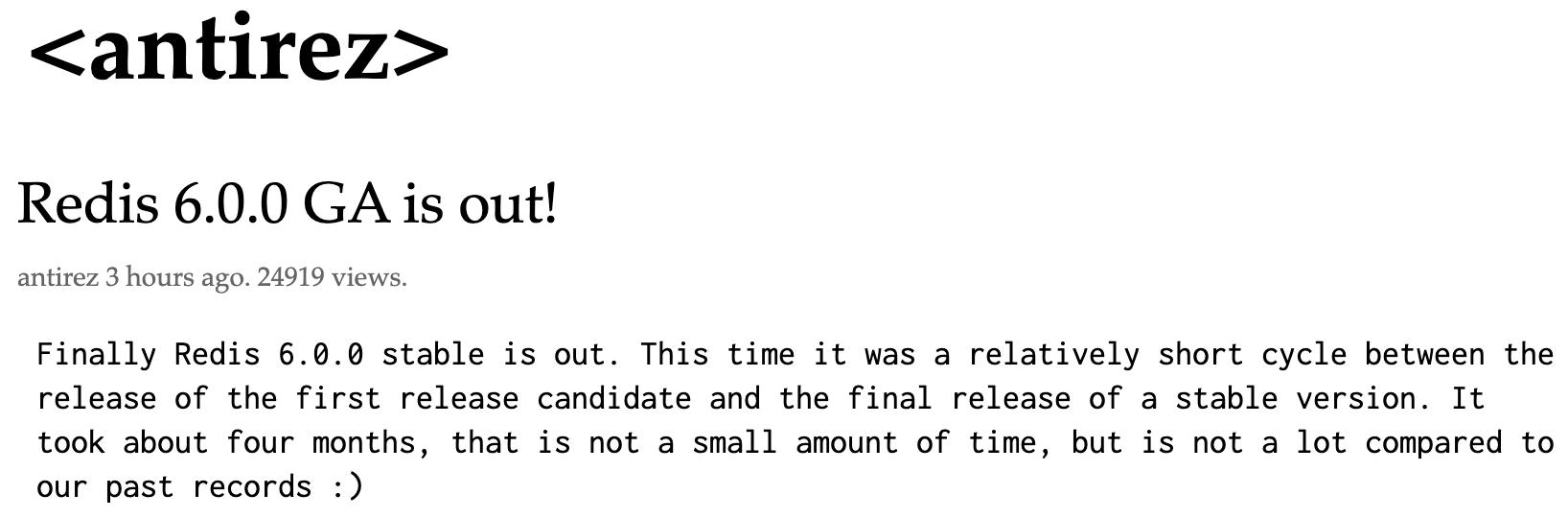 Redis 6.0.0正式发布版