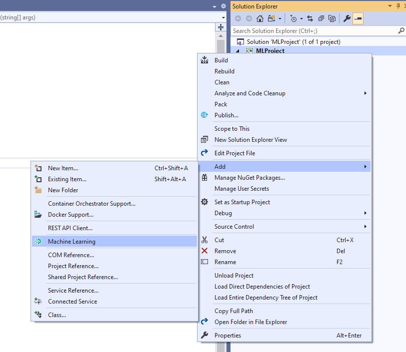 Visual Studio 已整合 ML.NET 模型构建器插图